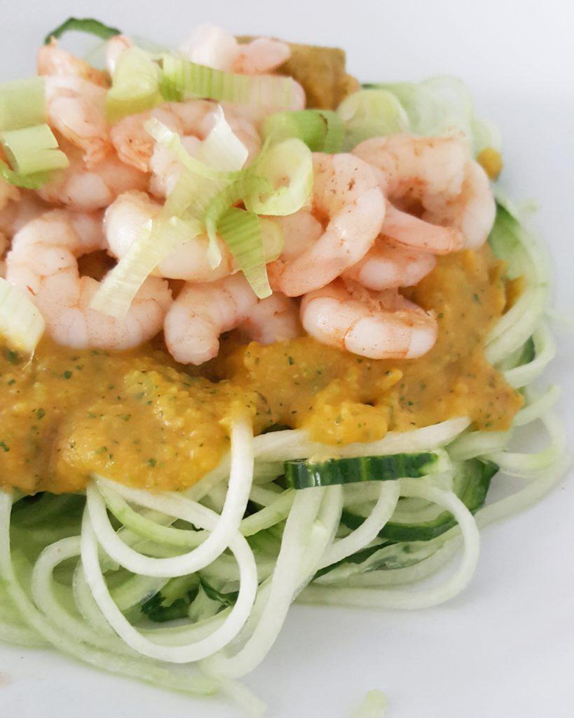 garnalen met veggie pasta recept nicole gabriel