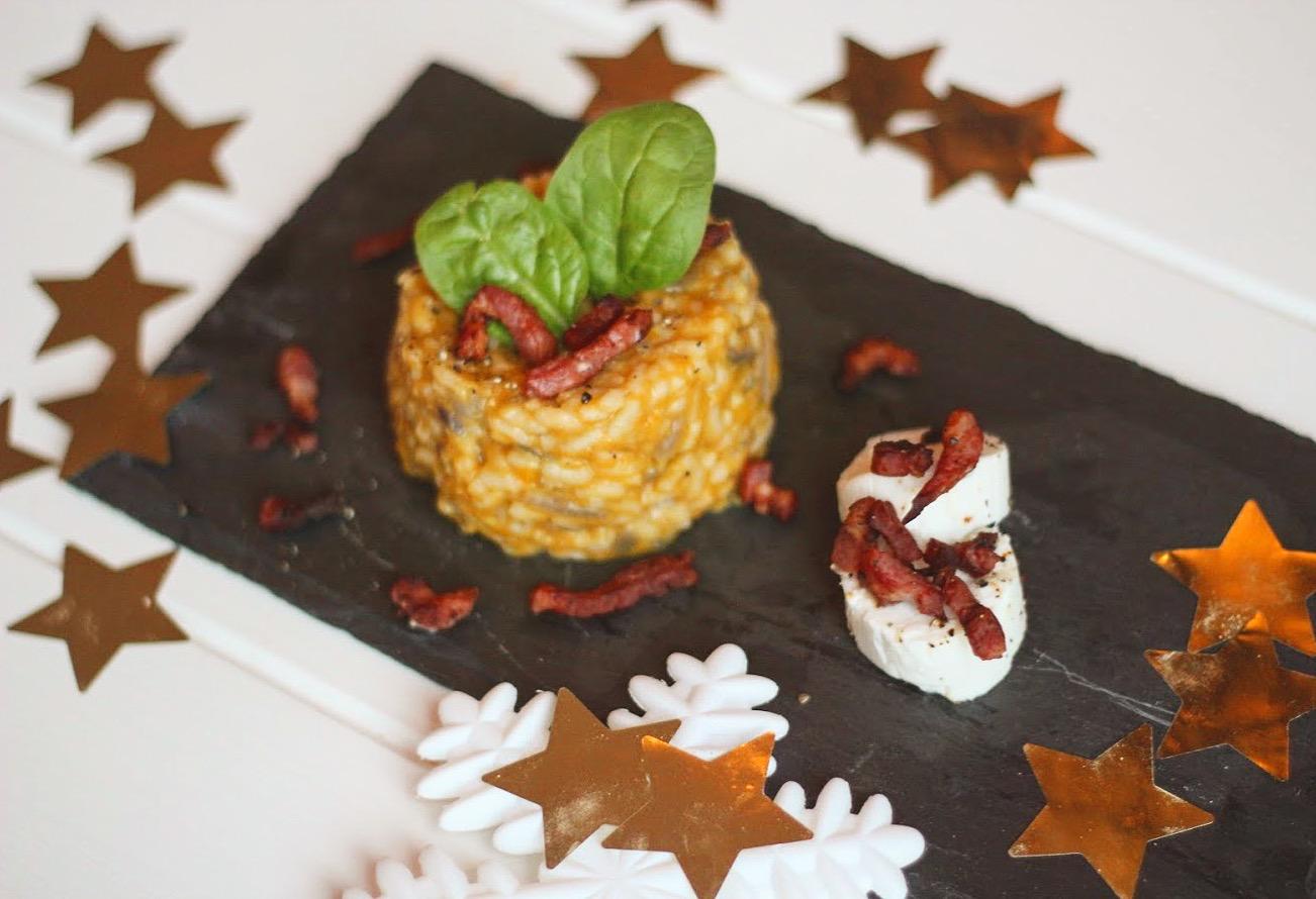 pompoen risotto met spekjes en geitenkaas recept gymjunkies kerstmenu 2018 lindsey teerink