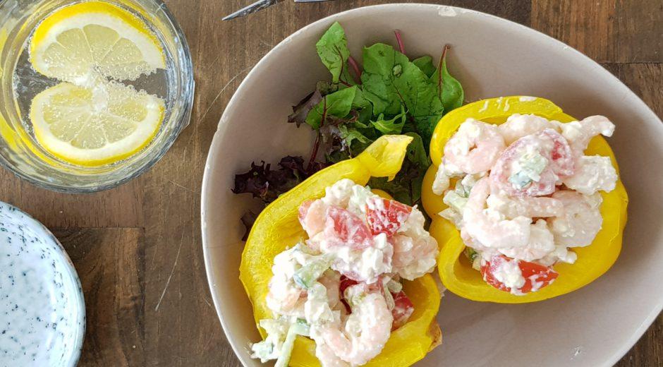 zomerse gevulde paprika garnalen recept
