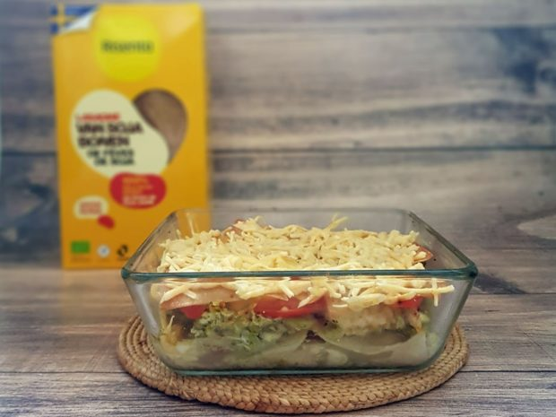 gezonde lasagne, pulled chicken, lasagne recept, gymjunkies