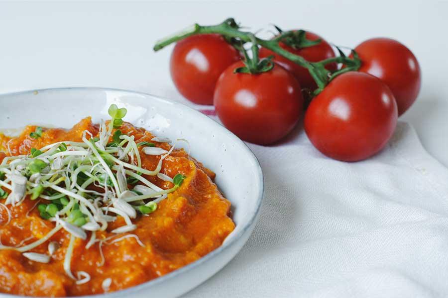 pompoen tomaten soep, gezonde soep, pompoen soep, tomaten soep