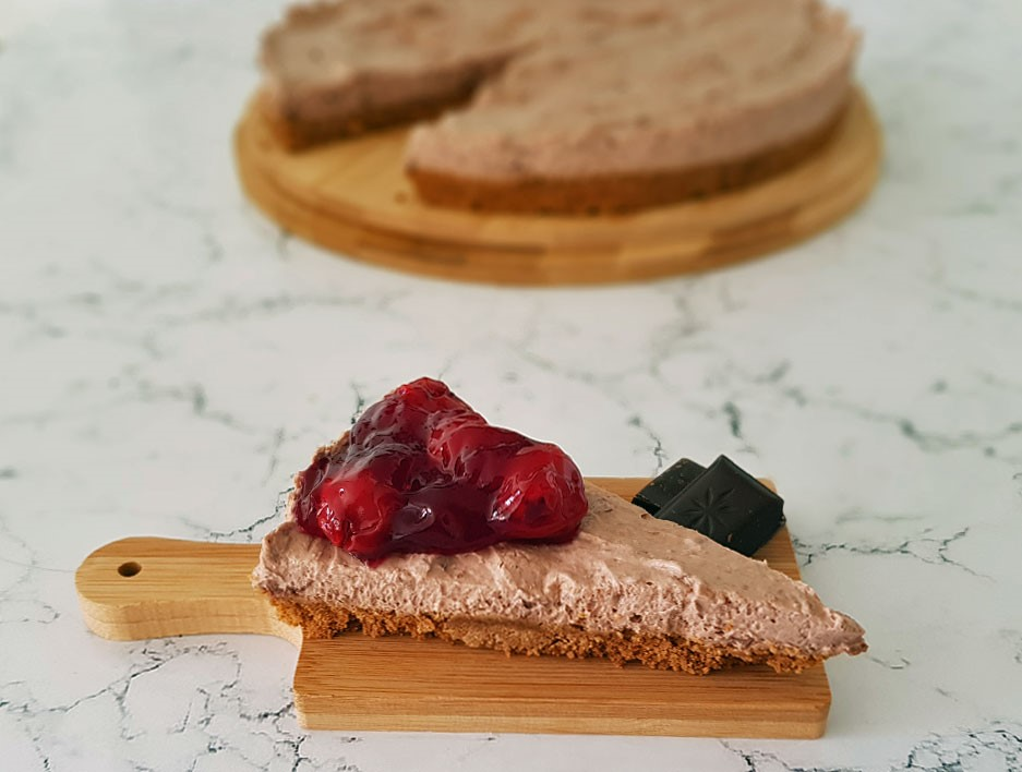 chocolade cheesecake, cheesecake, gymjunkies, cheatmeal recept, chocolade taart