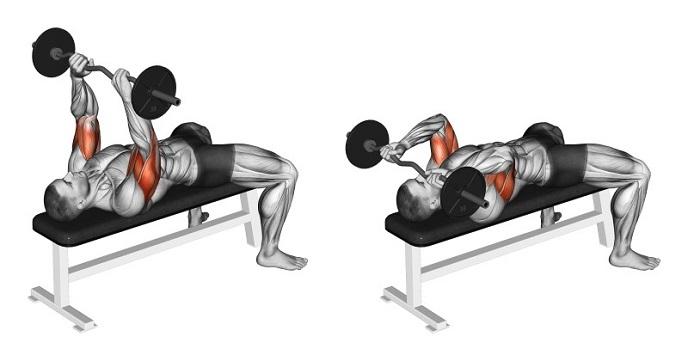 oefeningen triceps skull crushers