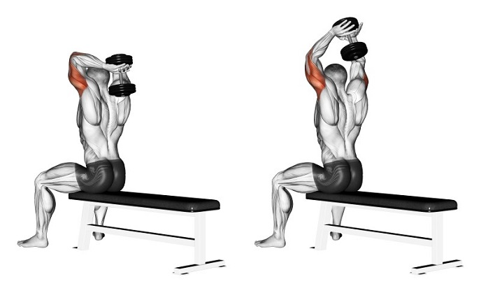 oefeningen triceps dumbbell extension